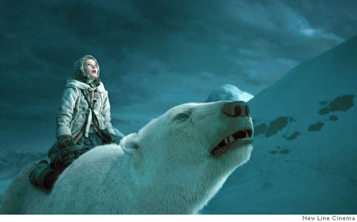 Description: Dakota Blue Richards stars as �Lyra Belacqua� and Ian McKellen stars as the voice of �Iorek Byrnison� in New Line Cinema�s release of Chris Weitz�s THE GOLDEN COMPASS�. Photo Credit: �2007 New Line Cinema Ran on: 12-07-2007 Keira Knightley and James McAvoy, top, in Atonement. Dakota Blue Richards, left, rides polar bear buddy Iorek, voiced by Ian McKellen in The Golden Compass.
