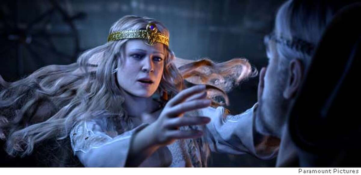 Beowulf's desire for the beautiful Queen Wealthow (left) surfaces in one of Beowulf's dreams in