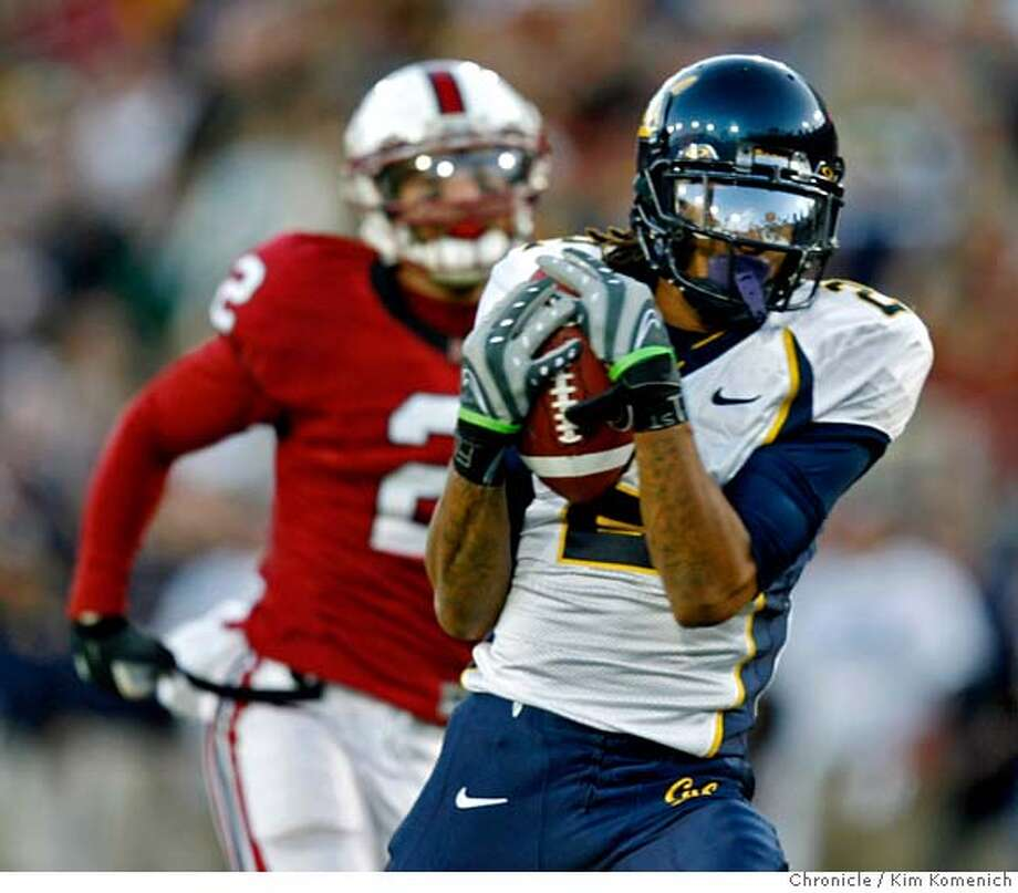 BIGGAME_066_KK.JPG  Cal wide receiver Robert Jordan catches a first quarter TD pass as Stanford cornerback Nick Sanchez pursues asCal plays Stanford in the 110th annual Big Game Saturday at Stanford Stadium.  Photo by Kim Komenich/The Chronicle  **Nick Sanchez, Robert Jordan MANDATORY CREDIT FOR PHOTOG AND SAN FRANCISCO CHRONICLE. NO SALES- MAGS OUT. Photo: Kim Komenich