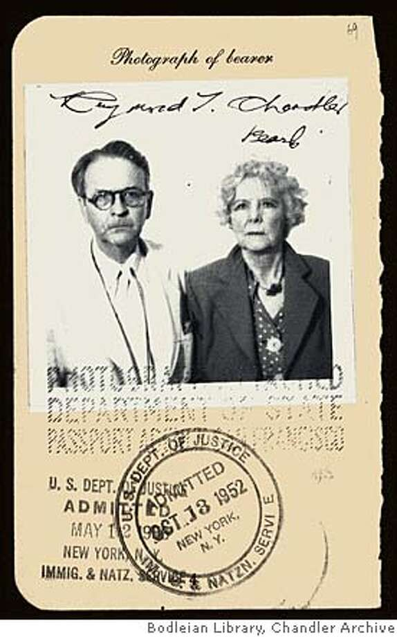 This passport photo is the only photo author Judith Freemen found of Raymond and Cissy Pascal Chandler together. Photo courtesy of Bodleian Library, Chandler Archive