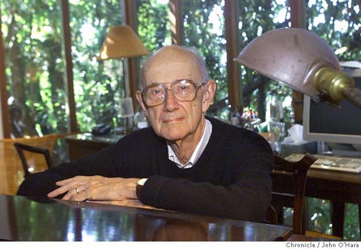 """IMRRIE19-C-13SEPT01-DD-JO Berkeley,CA """"Andrew Imbrie"""", in his studio at his home in the Berkeley Hills. Photo/John O'Hara"""