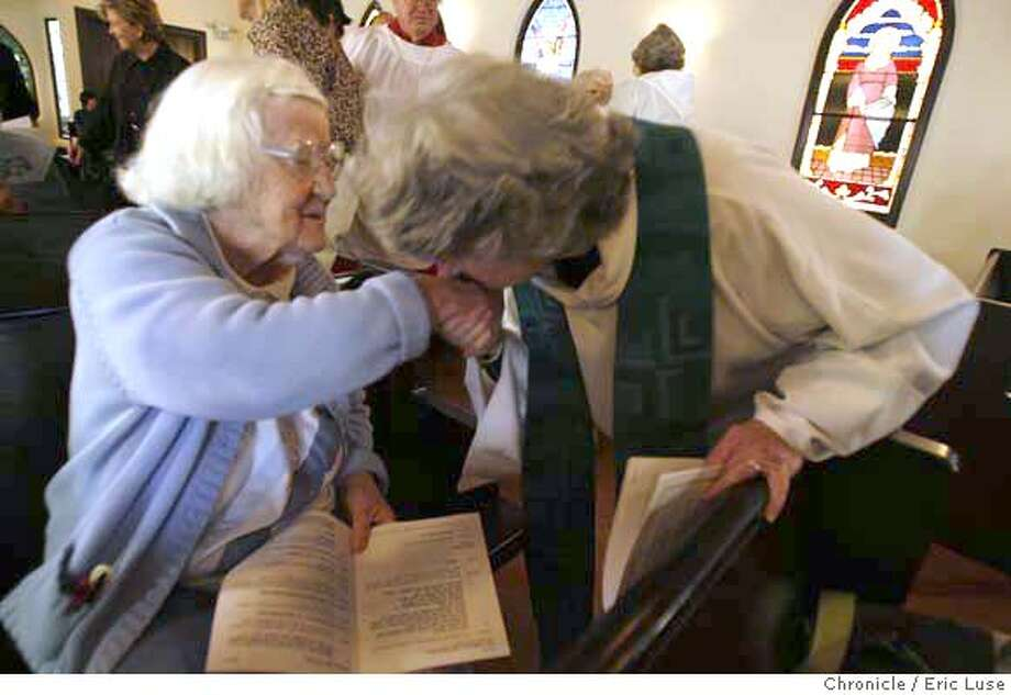 aging_111_el.jpg Senior Joan Gascoyne is greeted during services by Reverend Mary Moore Gaines who headed up a yet to be built drive to develop a village concept for seniors at St. James Episcopal Church.  Eric Luse / The Chronicle Photo taken on 10/20/07, in San Francisco, CA, USA  Names cq from source  Mary Moore Gaines  Doreen Canton  Joan Gascoyne MANDATORY CREDIT FOR PHOTOG AND SAN FRANCISCO CHRONICLE/NO SALES-MAGS OUT Photo: Eric Luse