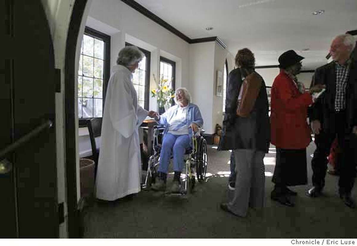aging_148_el.jpg Rev. Gaines says goodby to Senior Joan Gascoyne after church services. Reverend Mary Moore Gaines headed up a yet to be built drive to develop a village concept for seniors at St. James Episcopal Church. Eric Luse / The Chronicle Photo taken on 10/20/07, in San Francisco, CA, USA Names cq from source Mary Moore Gaines Doreen Canton Joan Gascoyne MANDATORY CREDIT FOR PHOTOG AND SAN FRANCISCO CHRONICLE/NO SALES-MAGS OUT