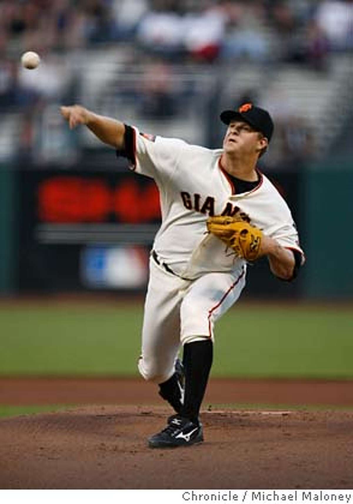 San Francisco Giants starting pitcher Matt Cain. The San Francisco Giants host the Colorado Rockies at AT&T Park. Photo taken on 8/28/07 in San Francisco, CA Photo by Michael Maloney / San Francisco Chronicle Ran on: 08-29-2007 Matt Cain scattered four hits over seven innings, plenty good to earn his fourth win of the month and run his record to 7-13. Ran on: 08-29-2007 Matt Cain scattered four hits over seven innings, plenty good enough to earn his fourth win of the month and run his record to 7-13. MANDATORY CREDIT FOR PHOTOG AND SF CHRONICLE/NO SALES-MAGS OUT