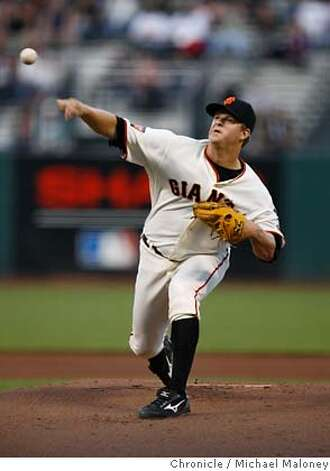 San Francisco Giants starting pitcher Matt Cain.  The San Francisco Giants host the Colorado Rockies at AT&T Park.  Photo taken on 8/28/07 in San Francisco, CA  Photo by Michael Maloney / San Francisco Chronicle  Ran on: 08-29-2007  Matt Cain scattered four hits over seven innings, plenty good to earn his fourth win of the month and run his record to 7-13.  Ran on: 08-29-2007  Matt Cain scattered four hits over seven innings, plenty good enough to earn his fourth win of the month and run his record to 7-13. MANDATORY CREDIT FOR PHOTOG AND SF CHRONICLE/NO SALES-MAGS OUT Photo: Michael Maloney
