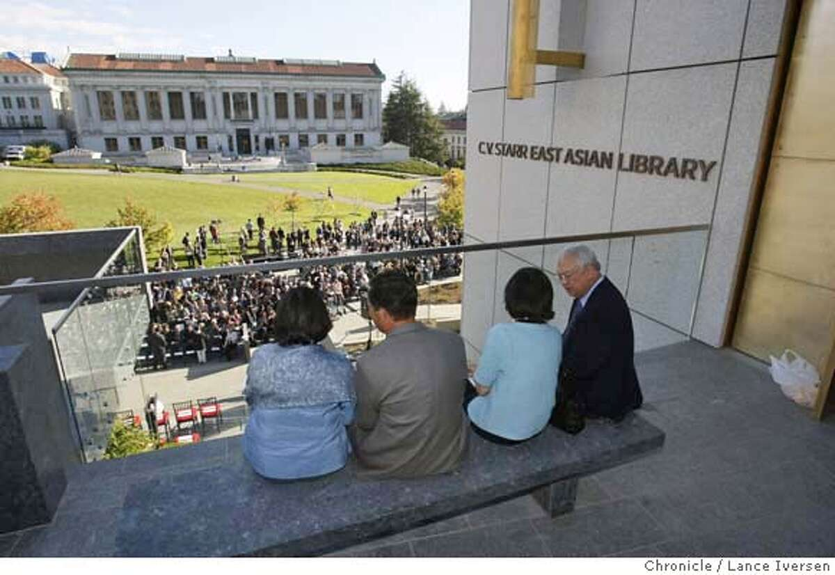 Guest taking part in the ribbon-cutting take in the view. UC Berkeley's newest library The C.V. Starr East Asian Library was dedicated Saturday. OCTOBER 20th, 2007. Lance Iversen/The Chronicle (cq) SUBJECT 10/20/07,in BERKELEY. CA. MANDATORY CREDIT PHOTOG AND SAN FRANCISCO CHRONICLE/NO SALES MAGS OUT