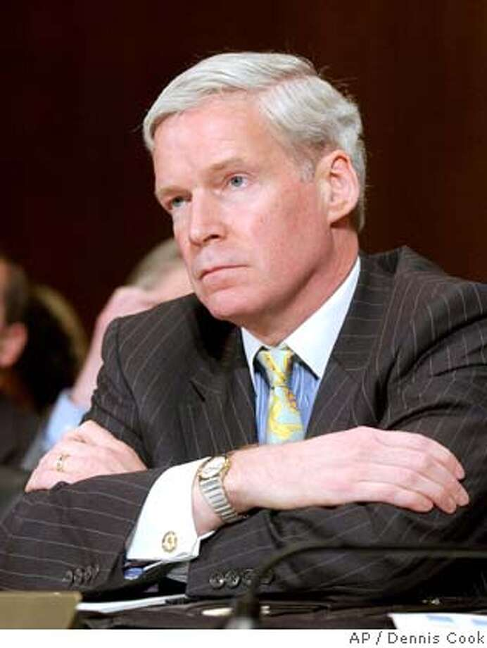 """**FILE** Mark Everson, Internal Revenue Service (IRS) Commissioner, testifies before the Senate Finance Committee on Capitol Hill in Washington, in a Wednesday, April 18, 2007 file photo. Everson, who took the job as president of The American Red Cross last May, was ousted as president on Tuesday, Nov. 27, 2007, after The American Red Cross learned that he had engaged in a """"personal relationship"""" with a subordinate employee. (AP Photo/Dennis Cook, File) Photo: Dennis Cook"""
