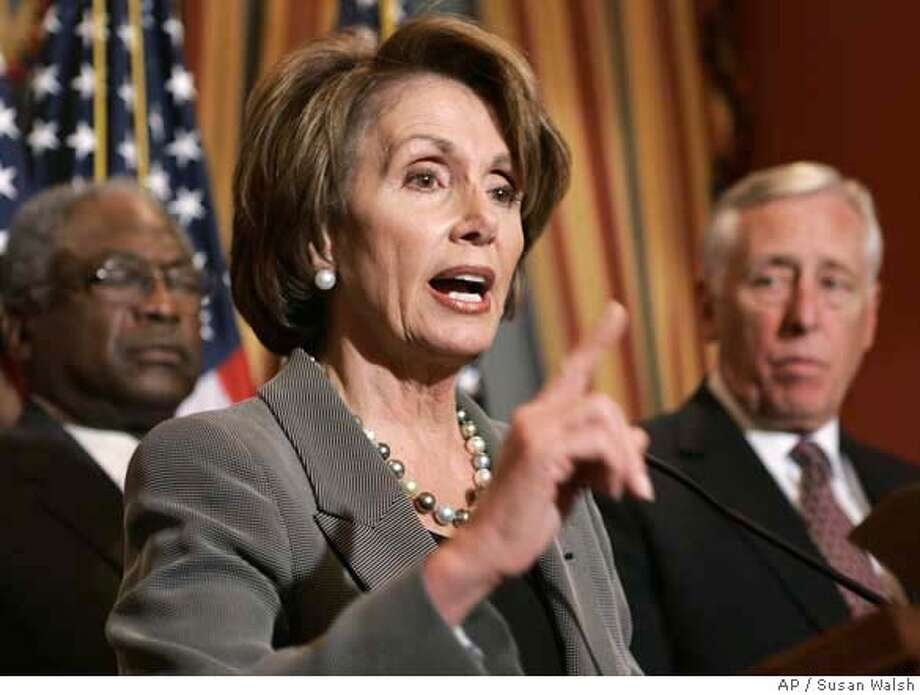 House Speaker Nancy Pelosi of Cailf, center, accompanied by House Majority Whip James Clyburn of S.C., left and House Majority Leader Steny Hoyer of Md., gestures during a news conference on Capitol Hill in Washington. (AP Photos/Susan Walsh)  Ran on: 11-09-2007  House Speaker Nancy Pelosi says the plan is to fund the military for a limited, specific purpose. Photo: Susan Walsh