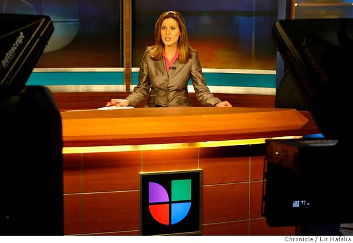 Weekday anchor Maria Leticia Gomez during the 6pm news for the local Spanish-language newscast KDTV, who beat the English-language news stations here in the SF Bay Area for the first time at 6 p.m. among the 25-54 demographic. Liz Hafalia/The Chronicle/San Francisco/12/1/07 ** Maria Leticia Gomez cq