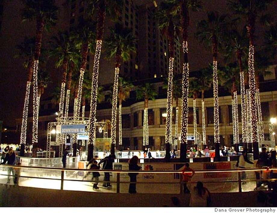 Rusted Fountain, St. James Park. Holiday ice rink at night, downtown San Joes Photo: Dana Grover Photographer