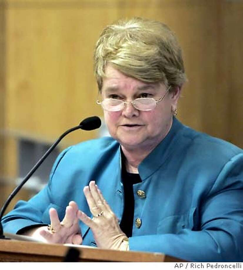 ** DELETES VOTE TOTALS ** State Sen. Sheila Kuhl, D-Santa Monica, urges members of the Senate Education Committee to approve her measure that would add sexual orientation to the list of criteria included in California textbooks, during a hearing at the Capitol in Sacramento, Calif., Wednesday, May 3, 2006. Kuehl's bill would require state textbooks and other social science materials to discuss the contributions that gays, lesbians, bisexuals and transgender people have made to the state and nation's economy, politics and society. The committee approved the bill. (AP Photo/Rich Pedroncelli) Ran on: 05-12-2006 Ran on: 05-12-2006 Ran on: 05-12-2006 Ran on: 05-12-2006  Ran on: 09-03-2006  Gov. Arnold Schwarzenegger may block Sen. Sheila Kuehl's bill. DELETES VOTE TOTALS Photo: RICH PEDRONCELLI