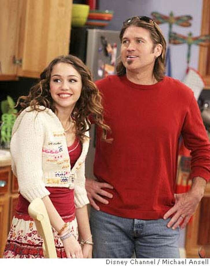 "Miley got her start as the fictional singer ""Hannah Montana"" in the Disney Channel TV show of the same name, which ran from 2006 to 2011. Here are Miley and dad Billy Ray in an episode from the show. Photo: MICHAEL ANSELL"
