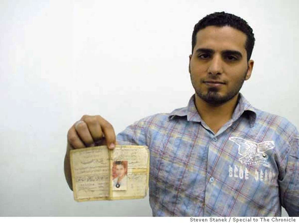 Rami Nayim, 25, shows off his tattered birth certificate, the only official ID that lists him as a Christian. He has carried in his back pocket for his entire life. Steven Stanek / Special to The Chronicle MANDATORY CREDIT FOR PHOTOG AND SAN FRANCISCO CHRONICLE/NO SALES-MAGS OUT