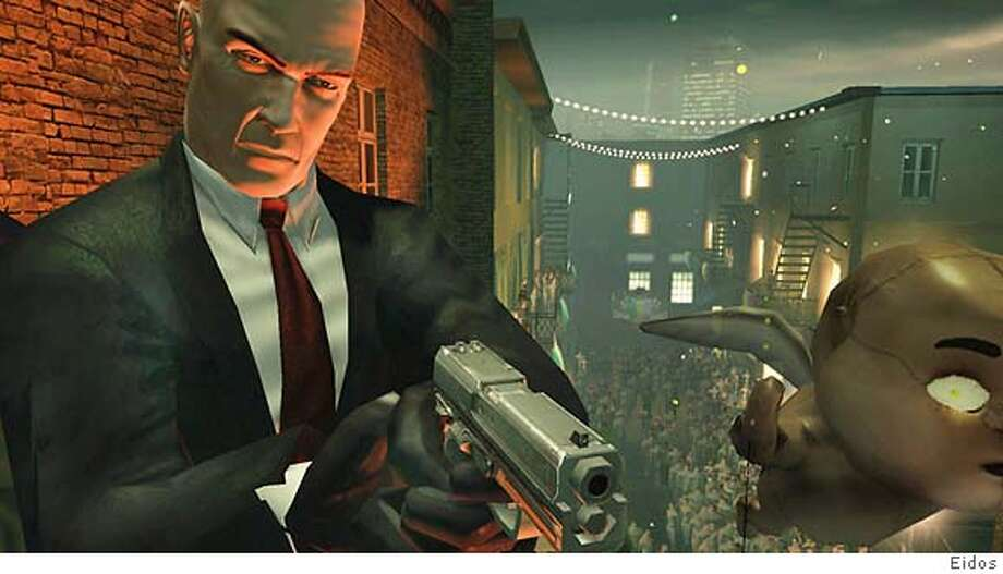 "Not a bad likeness to the ""real"" Agent 47, shown here in ""Hitman: Blood Money."" Photo: Eidos"