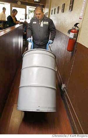 David Silvestri (cq) rassles a fifty gallon drum of used oil out of the kitchen at Olivia's as restaurant on 3rd street to be recycled into biodiesel. San Francisco has a new program to recycle restaurant grease and oil and turn it into biodiesel for city vehicles.  GREASECYCLE20_0102_KR.jpg  Kurt Rogers / The Chronicle Photo taken on 11/16/07, in San Francisco, CA, USA MANDATORY CREDIT FOR PHOTOG AND SAN FRANCISCO CHRONICLE/NO SALES-MAGS OUT Photo: Kurt Rogers