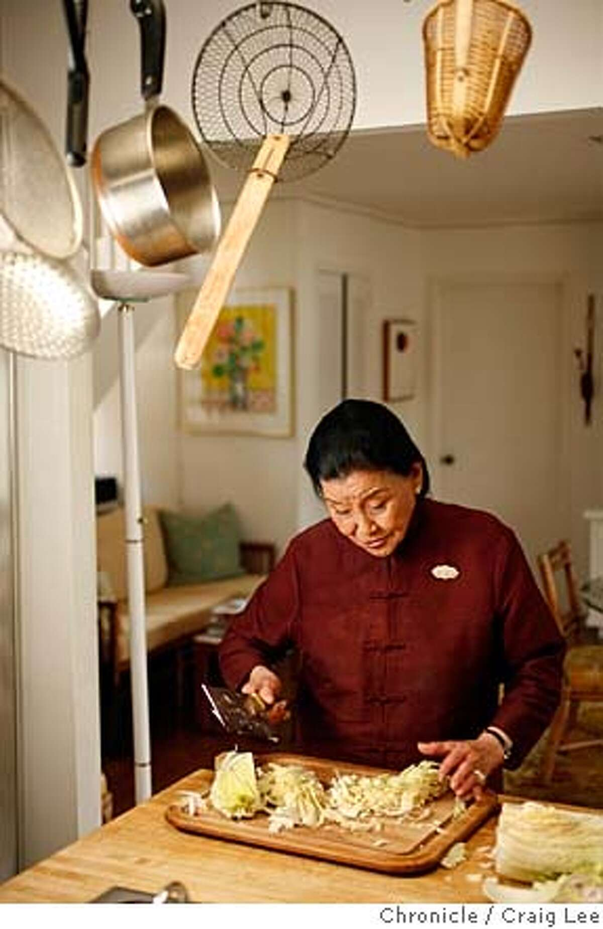 CHIANG31_219_cl.JPG Photo Cecilia Chiang, former owner of the groundbreaking Mandarin restaurant in Ghirardelli Square in the late 1960's. Photo of Cecilia Chiang in her home kitchen demonstrating how she slices cabbage. on 10/9/07 in Belvedere. photo by Craig Lee / The Chronicle MANDATORY CREDIT FOR PHOTOG AND SF CHRONICLE/NO SALES-MAGS OUT