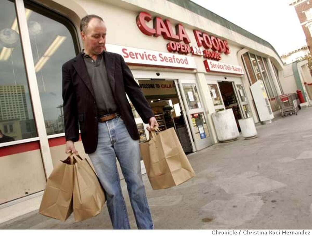 111607_sfbags19_ckh In front of Cala Foods, on California St., in San Francico, shopper, Richard Casey, views his distaste for the plastic bag ban to begin Tuesday in SF. Christina Koci Hernandez/special to the Chronicle Richard Casey (cq) Carmela Yaari-Unterbach (cq) and Geneva North (cq)