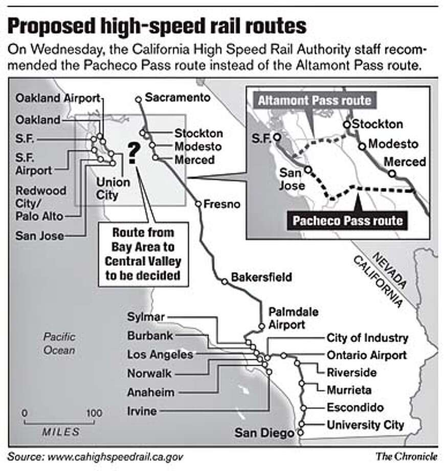 Proposed high-speed rail routes. Chronicle Graphic
