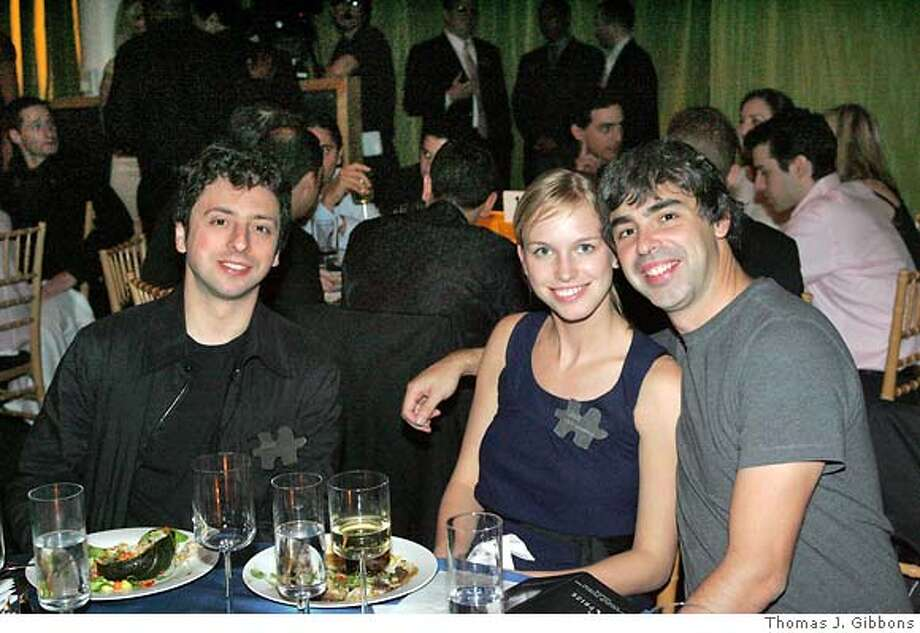 XPRIZE.JPG  Google co-founder Larry Page hosted a benefit for the X-Prize Foundation at Google HQ in Mountain View. From left: Google co-founder Sergey Brin, Lucy Southworth and Larry Page.  Thomas J. Gibbons / The Chronicle  Ran on: 05-23-2007  Google co-founder Sergey Brin got married, and Google is investing in his wife's biotech firm. Photo: Thomas J. Gibbons
