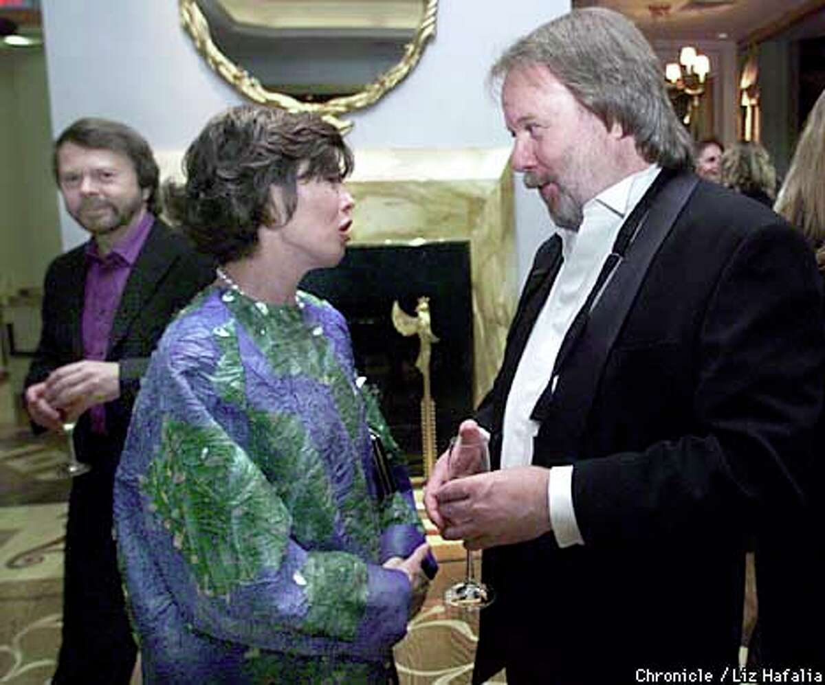 Carole Shorenstein Hays talked with Benny Anderson as Bjorn Ulvaeus (background) looked on at the cast party for