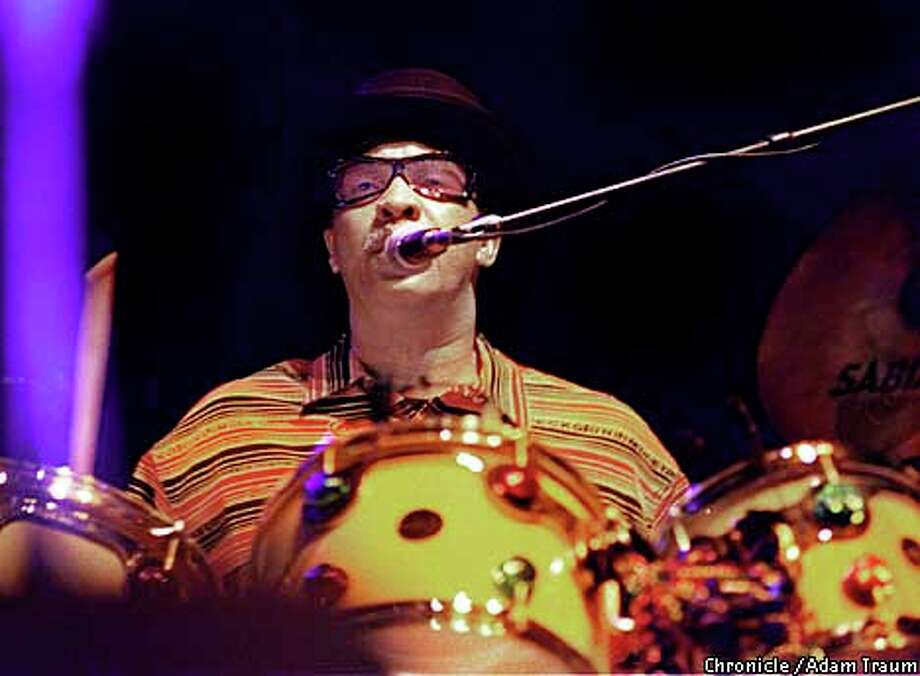 "Joseph ""Zigaboo'' Modeliste's drumming took the spotlight during ""Hey Pocky A-Way,'' the updated Mardi Gras street chant that closed the Meters' first set Saturday night at the Warfield. Chronicle photo by Adam Traum"