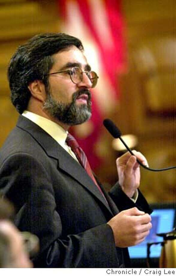 SFSUPES09H-C-08JAN03-MT-CL  Two new members and three incumbents of San Francisco Board of Supervisors being sworn into office. Photo Aaron Peskin who was one of the candidates involved in the stalemate for Board President. Peskin spoke and withdrew his name to stop the stalemate.  Photo by Craig Lee/San Francisco Chronicle Ran on: 07-27-2005  Aaron Peskin CAT standard mug crop Photo: CRAIG LEE