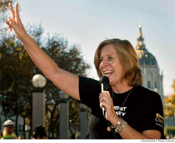Anti-war activist and U.S. Congressional candidate Cindy Sheehan speaks to about 100 supporters that attended the Step It Up global warming awareness rally at UN Plaza in San Francisco, Calif. on Saturday, Nov. 3, 2007. According to organizers, the event was one of over 1,400 events taking place nationwide to promote clean energy.  PAUL CHINN/The Chronicle  **Cindy Sheehan Photo: PAUL CHINN