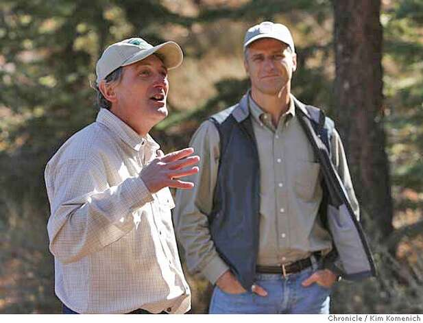 Perry Norris (L) Executive Director of the Tahoe-Donner Land Trust and David Sutton (R), Director of the Northern California and Nevada office of the Trust for Public Land speak at a celebration of the opening to the public of a formerly private ranch land near Truckee known as the Martis Valley. The property, oroginally called the Waddle Ranch, is open to the public for the first time in nearly four decades, thanks to a $23.5 million deal made the Trust for Public Land and the Truckee-Donner Land Trust.  Photo by Kim Komenich/The Chronicle  **Perry Norris, David Sutton Photo: Kim Komenich