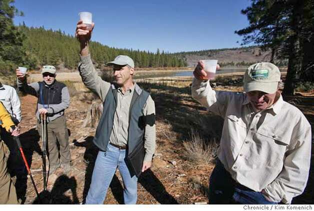 Land preservationists David Sutton (L), Director of the Northern California and Nevada office of the Trust for Public Land Perry Norris (R) Executive Director of the Tahoe-Donner Land Trust toast the opening of rmore than 1,400 acrea of formerly private ranch land nearTruckee known as the Martis Valley, The property, oroginally called the Waddle Ranch, is open to the public for the first time in nearly four decades, thanks to a $23.5 million deal made the Trust for Public Land and the Truckee-Donner Land Trust.  Photo by Kim Komenich/The Chronicle  ** Photo: Kim Komenich