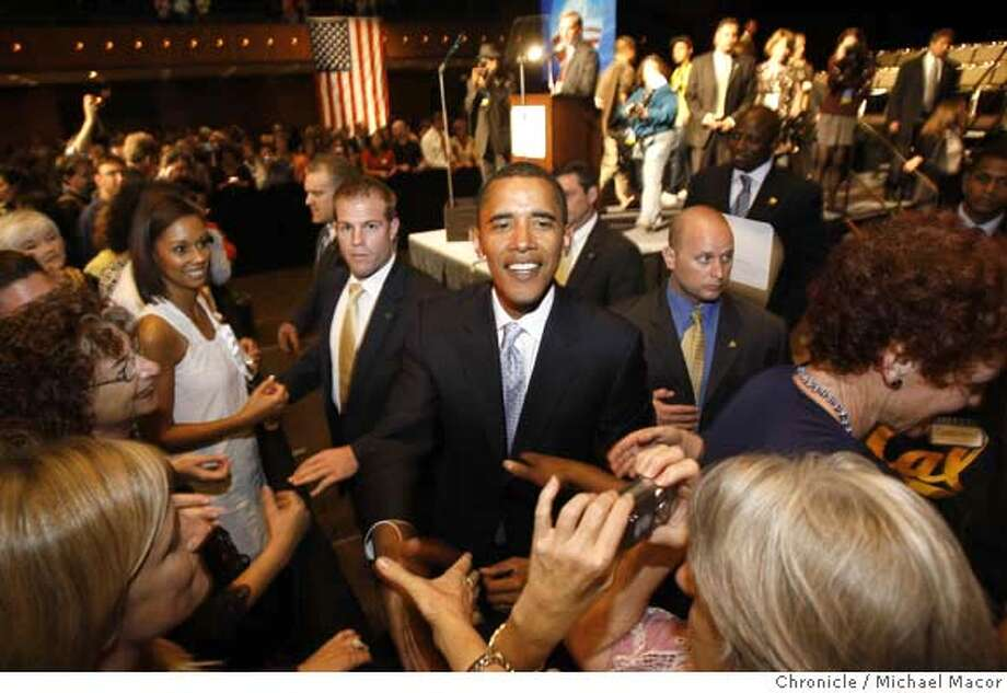"""obama08_119_mac.jpg Obama greets supporters following his address. Democratic Presidential candidate Barack Obama in town for a women's rally, """"Women For Obama"""" at the Bill Graham Civic Auditorium. Photographed in, San Francisco, Ca, on 9/7/07. Photo by: Michael Macor/ The Chronicle Mandatory credit for Photographer and San Francisco Chronicle No sales/ Magazines Out Photo: Michael Macor"""