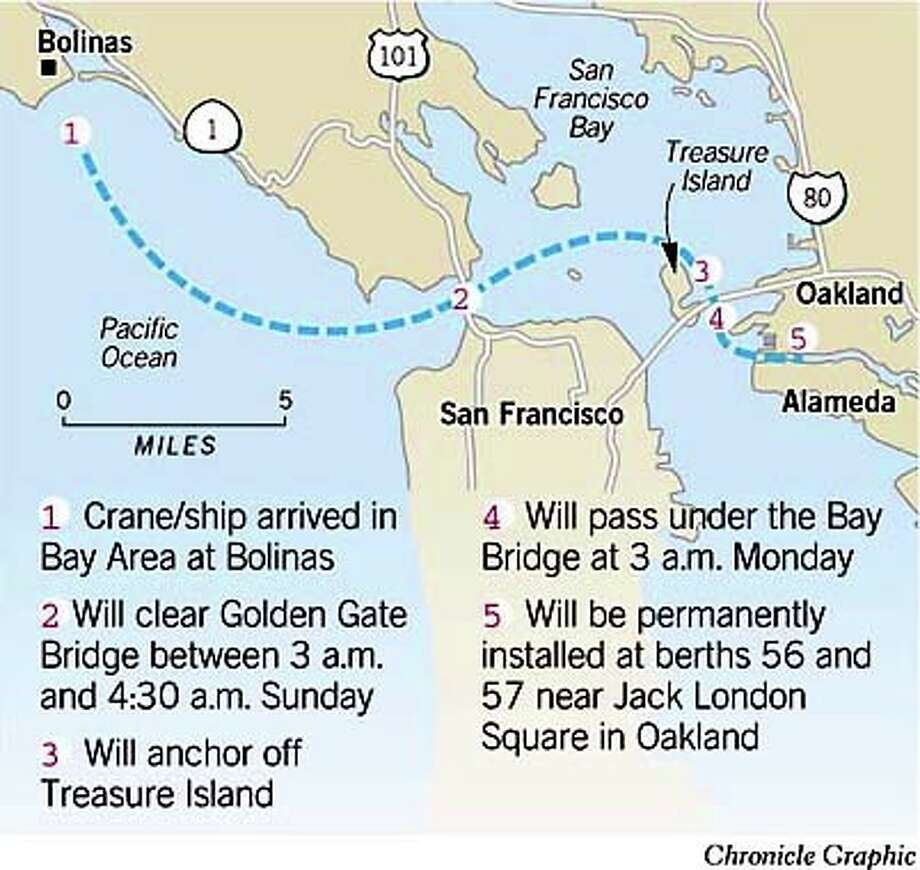 Route of crane. Chronicle Graphic