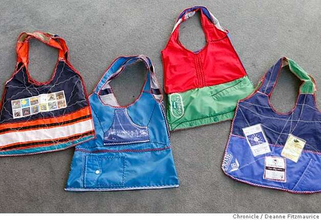 bags11_009_df.jpg  Kendra Stanley repurposes windbreakers to make eco-friendly and fashionable shopping bags from her Bernal Heights home. Photographed in San Francisco on 11/1/07. Deanne Fitzmaurice / The Chronicle Mandatory credit for photographer and San Francisco Chronicle. No Sales/Magazines out. Photo: Deanne Fitzmaurice