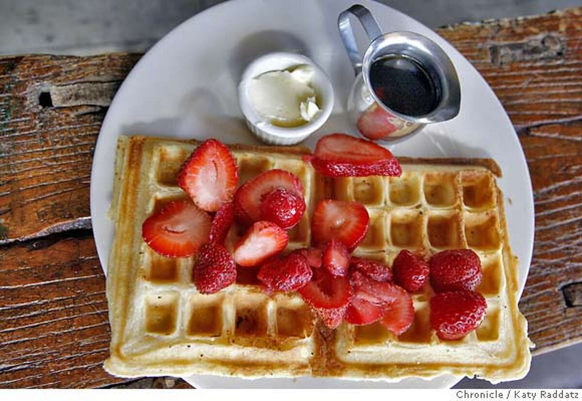 BARGAIN01 Strawberry Waffles at The Grove, a popular corner coffeehouse and restaurant on Chestnut St. in San Francisco, CA. These pictures were made on Tuesday Oct. 23, 2007, in San Francisco, CA. KATY RADDATZ/The Chronicle Photo taken on 10/23/07, in San Francisco, CA, USA