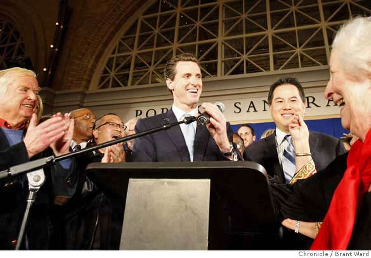 Mayor Gavin Newsom celebrated his certain win Tuesday night at a party held at the Ferry Building in San Francisco. Although few election results were revealed, Newsom had no real challenger in the mayoral contest. {By Brant Ward/San Francisco Chronicle}11/6/07
