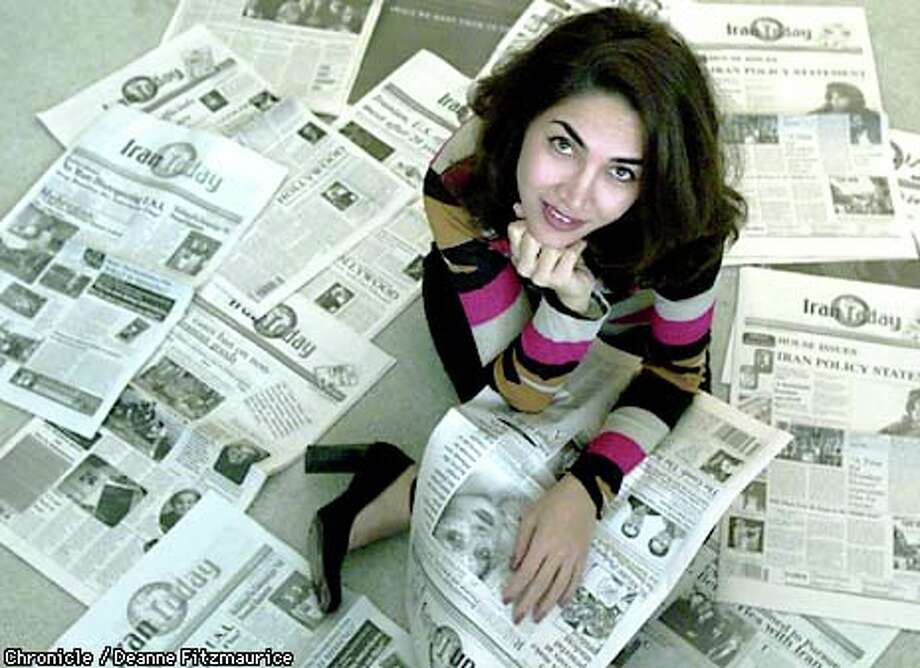 President and editor of Iran Today Susan Akbarpour sat surrounded by editions of the monthly newspaper, which is based in San Jose. Chronicle photo by Deanne Fitzmaurice / CHRONICLE