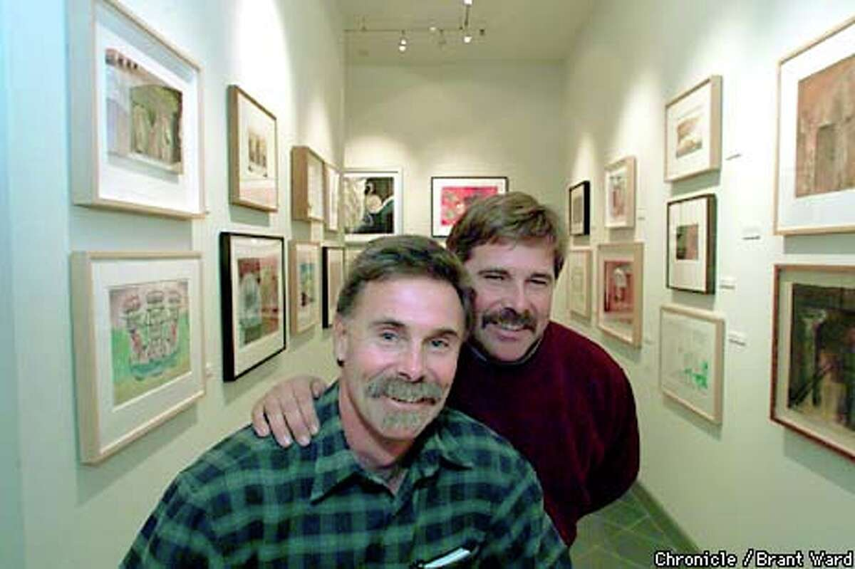 Joe Benziger and his brother Mike at their Glen Ellen gallery, where they display the art commissioned for their wine labels. Chronicle photo by Brant Ward