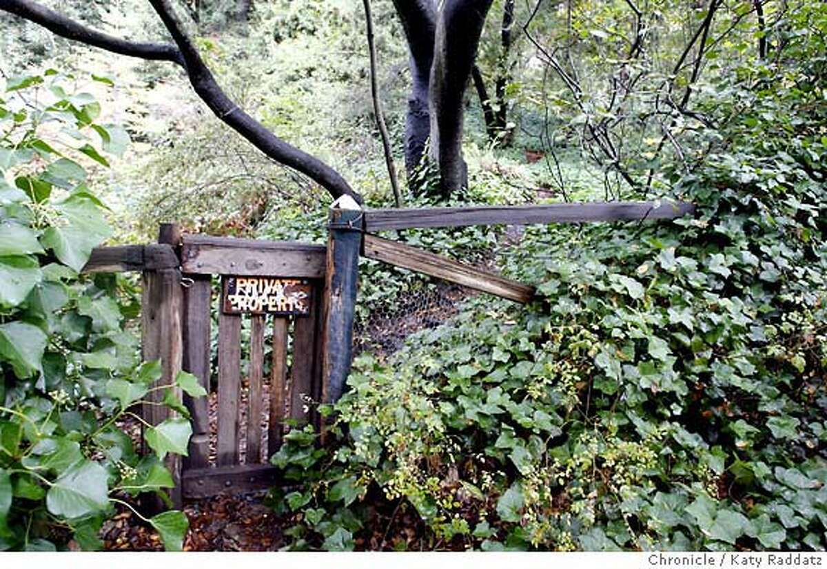 URBAN15 One must go through the gate with the Private Property sign to get to THE BERKELEY WATERFALL, in the Berkeley hills, on private property adjacent to Codornices Park. These pictures were made on Wednesday oct. 17, 2007, in Berkeley, CA. KATY RADDATZ/The Chronicle Photo taken on 10/17/07, in Berkeley, CA, USA