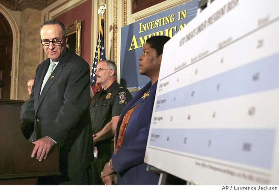 Sen. Charles Schumer, D-N.Y., left, with accompanied by Montgomery County, Md., Chief of Police, Tom Manger, center, and Marsha Smith, a school teacher at Earle B. Wood Middle School, in Rockville, Md., meets reporters on Capitol Hill in Washington, Wednesday, Oct. 24, 2007, to discuss the impact of President Bush's veto threat of the appropriations bill.(AP Photo/Lawrence Jackson) Photo: Lawrence Jackson