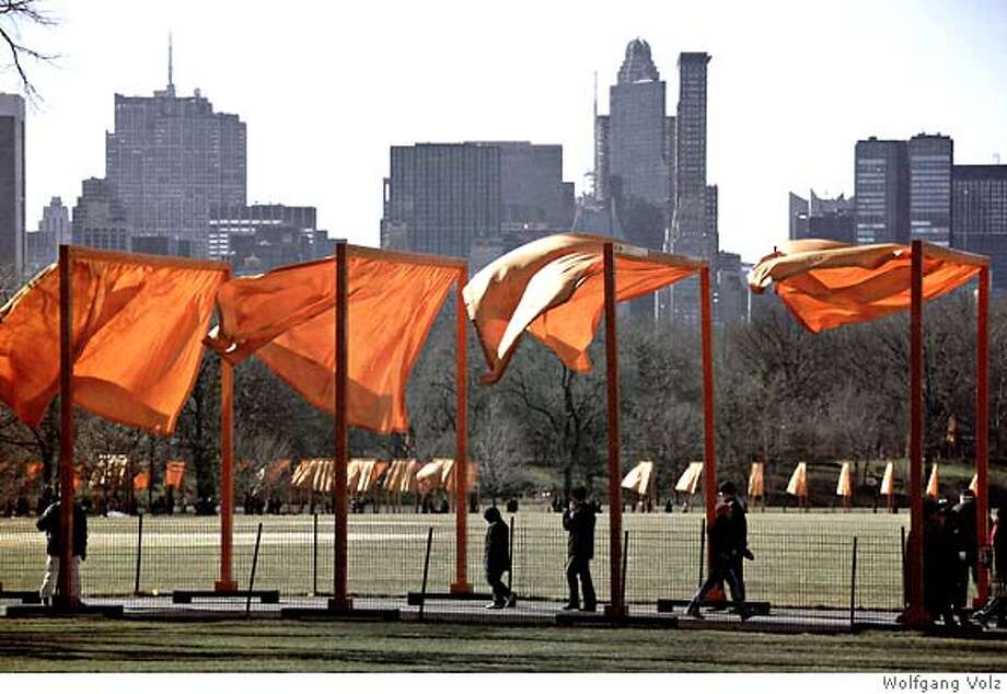 "Caption: photo by Wolfgang Volz of ""The Gates, Central Park, New York City, 1979-2005"" by Christo and Jeanne-Claude, subject of the HBO documentary ""The Gates"" by Antonio Ferrera, Albert Maysles, David Maysles and Matthew Prinzing, opening at the Opera Plaza on Nov. 2, 2007. Photo: -"