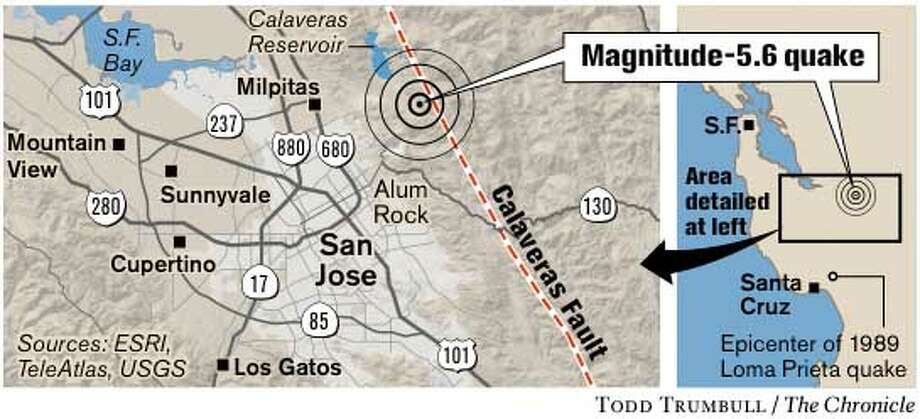 Magnitude-5.6 Quake. Chronicle graphic by Todd Trumbull