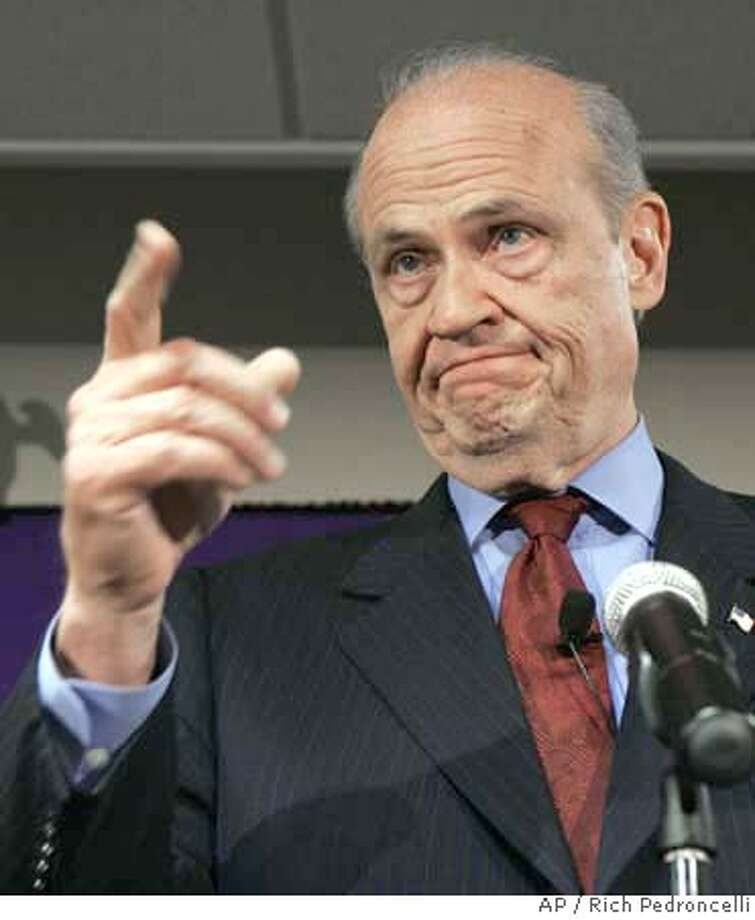 Republican presidential hopeful and former U.S. Sen. Fred Thompson, of Tennessee, takes another question during a news conference where he received the endorsement of several of California's Republican lawmakers, in Sacramento, Calif., Tuesday, Oct. 30, 2007. (AP Photo/Rich Pedroncelli) Photo: Rich Pedroncelli