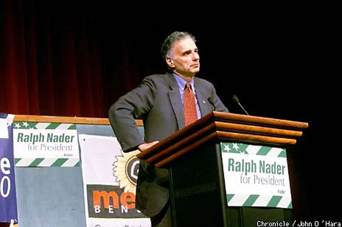 Ralph Nader spoke to an overflow crowd of 1,000 at San Francisco State University. Chronicle photo by John O'Hara
