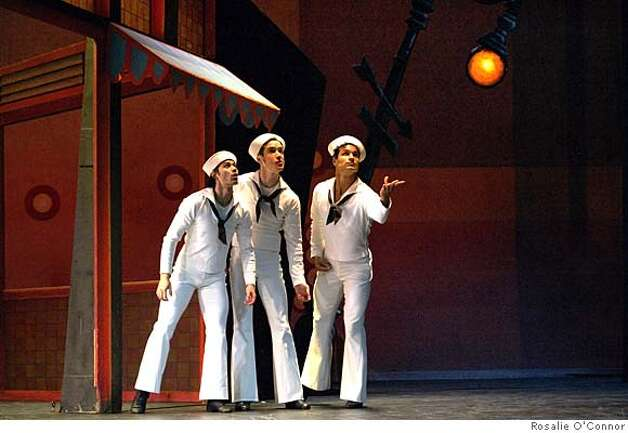Pictured: Herman Cornejo, Sascha Radetsky and Jose Carreno of American Ballet Theatre perform in Jerome Robbins�s Fancy Free as part of Cal Performances program November 7-11, 2007. PHOTO: Rosalie O'Connor Ran on: 11-04-2007  Herman Cornejo, Sascha Radetsky and Jose Carreno of American Ballet Theatre perform &quo;Fancy Free,&quo; part of the company's program at Cal Performances. Photo: Rasalie O'Connor