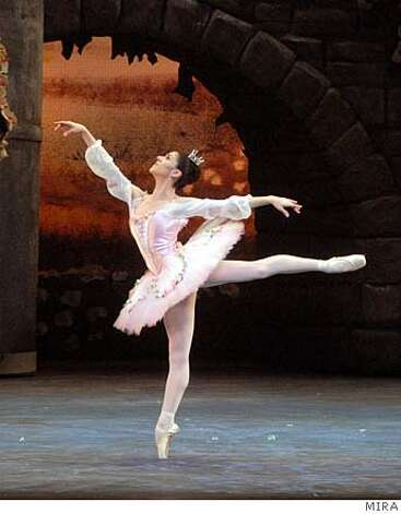 Gillian Murphy of American Ballet Theatre performs the Rose Adagio from The Sleeping Beauty as part of its program at Cal Performances November 7-11, 2007. Ran on: 11-04-2007  Herman Cornejo, Sascha Radetsky and Jose Carreno of American Ballet Theatre perform &quo;Fancy Free,&quo; part of the company's program at Cal Performances. Photo: Rosalie O'Connor