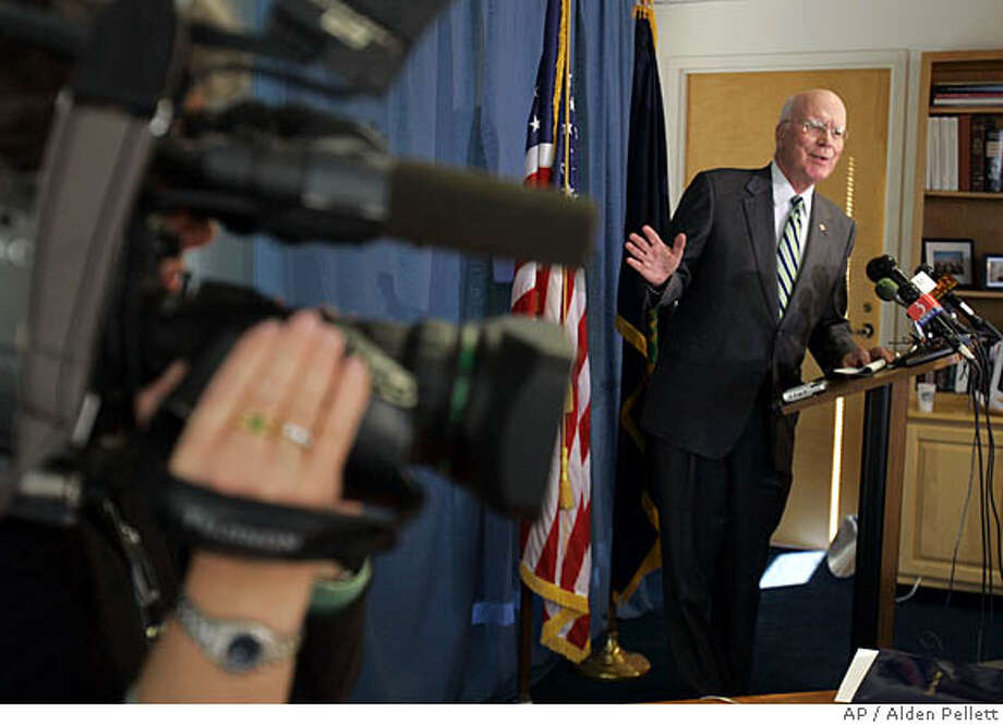 Chairman of the Judiciary, Senator Patrick Leahy (D-VT) talks with reporters after announcing at a news conference in his office in Burlington, Vt., Friday, Nov. 2, 2007, that he will not support the nomination of Michael Mukasey for Attorney General of the United States. (AP Photo/Alden Pellett) Photo: Alden Pellett