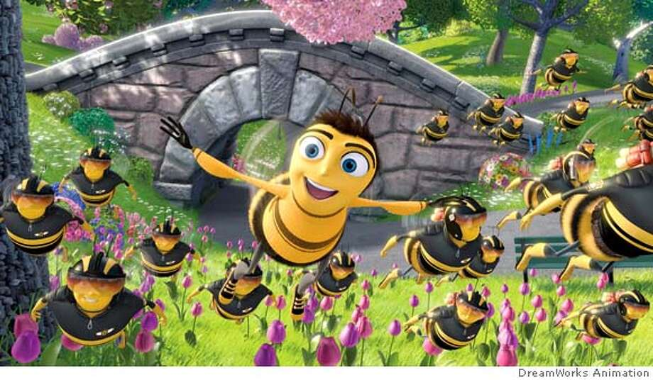 BEE017 Photo Credit: DreamWorks Animation L.L.C.  Barry B. Benson (JERRY SEINFELD, center) flies through Central Park with the few, the proud, the Pollen Jocks in DreamWorks� BEE MOVIE, to be released by Paramount Pictures in November 2007. DreamWorks Animation SKG Presents, in Association with Columbus 81 Productions, �Bee Movie,� which will be distributed by Paramount Pictures. ��The film stars Jerry Seinfeld, Ren?e Zellweger, Matthew Broderick, John Goodman, Chris Rock, Kathy Bates, Patrick Warburton, Barry Levinson, Megan Mullally, Larry Miller and Rip Torn. ��The film is directed by Simon J. Smith and Steve Hickner and written by Jerry Seinfeld and Spike Feresten & Barry Marder & Andy Robin. �DreamWorks� �Bee Movie� is produced by Jerry Seinfeld and Christina Steinberg. �The music is by Rupert Gregson-Williams. �This movie has been rated PG for mild suggestive humor. Photo: Ho