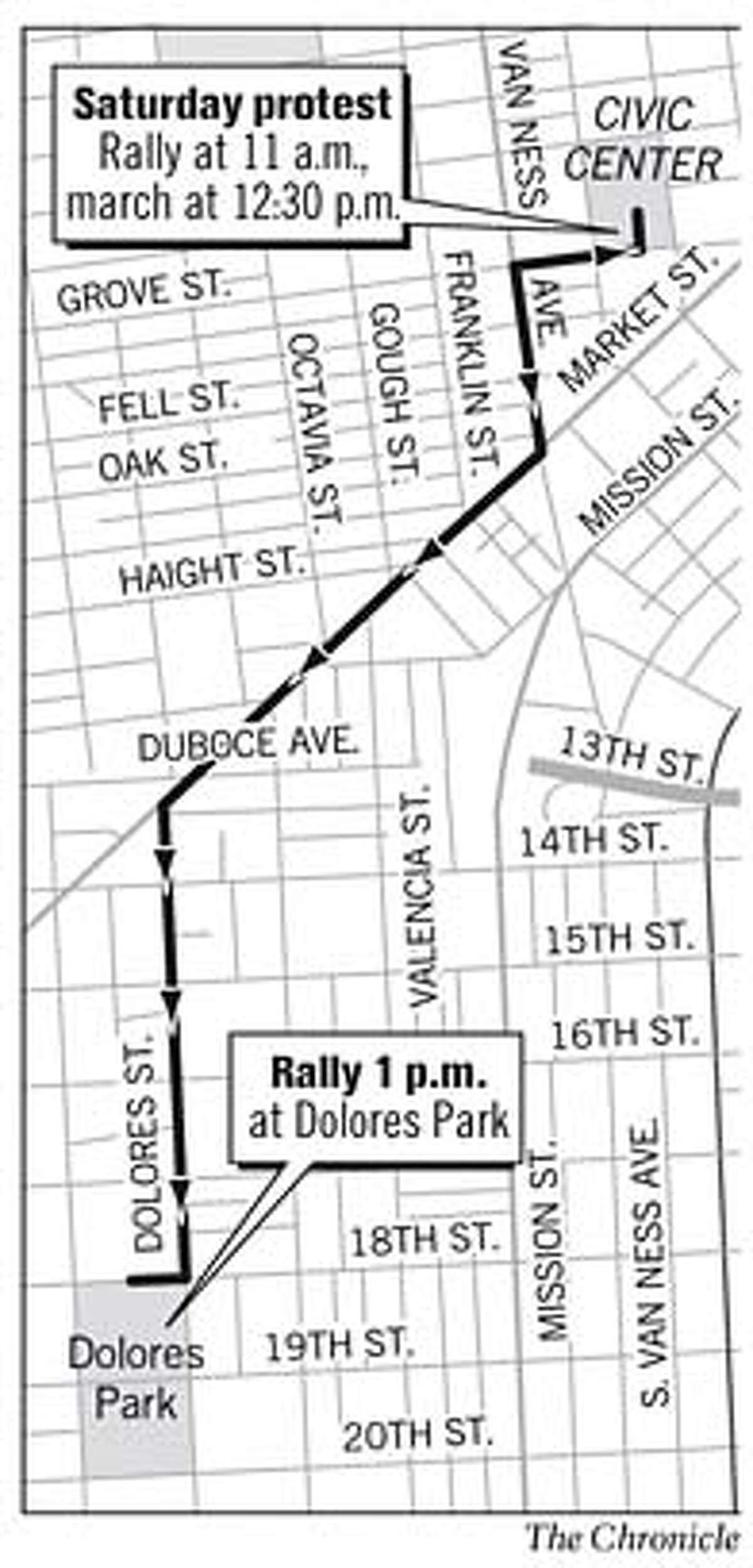 Saturday Protest and Rally. Chronicle Graphic