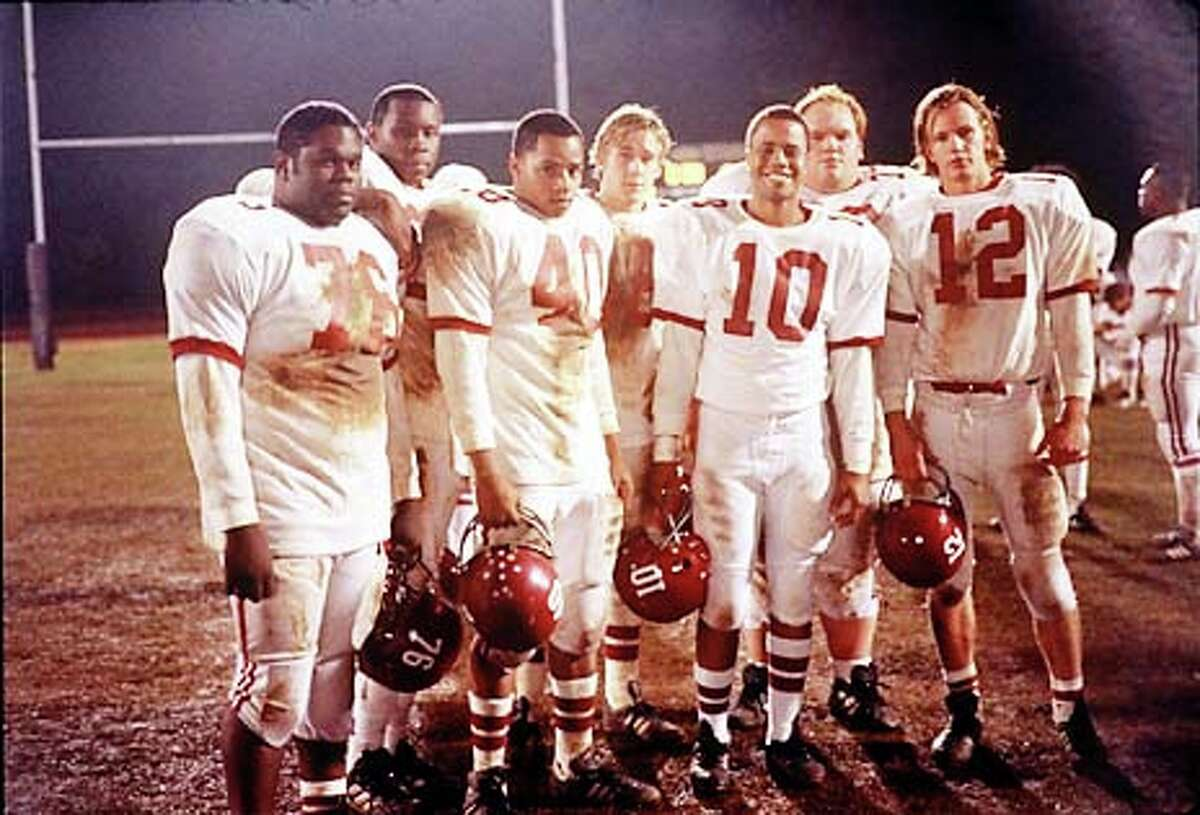 Left to right: Earl C. Poitier, Wood Harris, Donald Faison, Alan Bosley, Craig Kirkwood, Ethan Suplee and Kip Pardue in Remember the Titans.