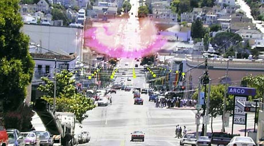 A photo illustrated by designer Christian Werthman shows how jet-spray nozzles would create a cloud about Market and Castro streets