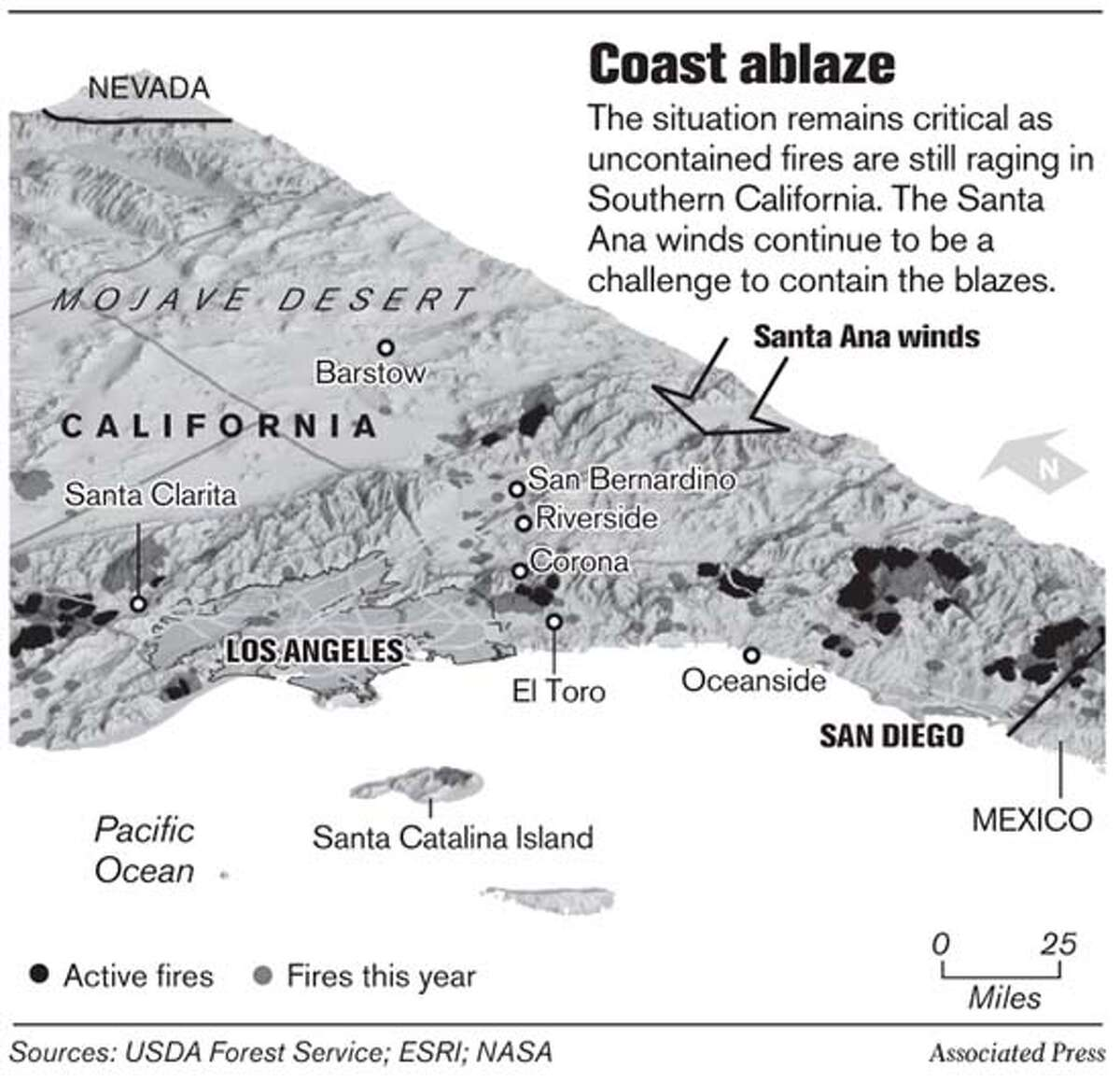 Coast Ablaze. Associated Press Graphic